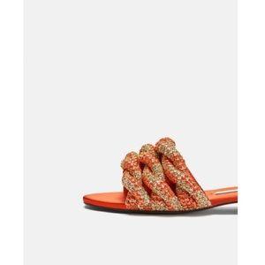 NEW Zara Trafaluc Gem Encrusted Orange Gold Slides